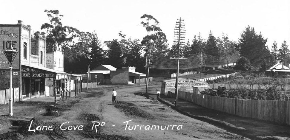 Lane Cove Rd (now Pacific Hwy) Turramurra, looking north, 1908 (Image - SLNSW)