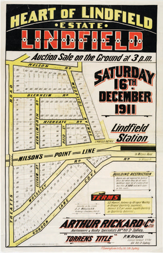 Lindfield Estate Auction Poster, 1911