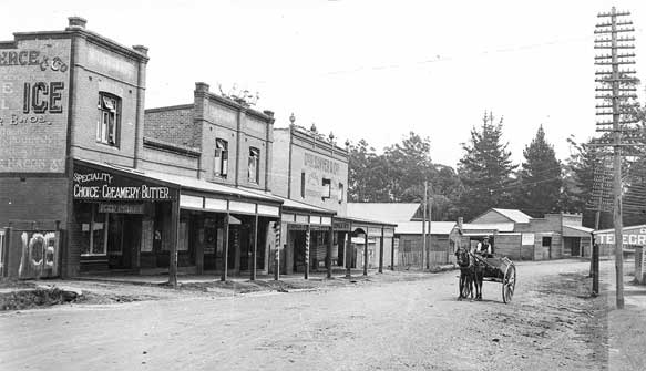 Monochrome photo of Lane Cove Road (later Pacific Hwy) Turramurra, looking north, with shops and horse & cart