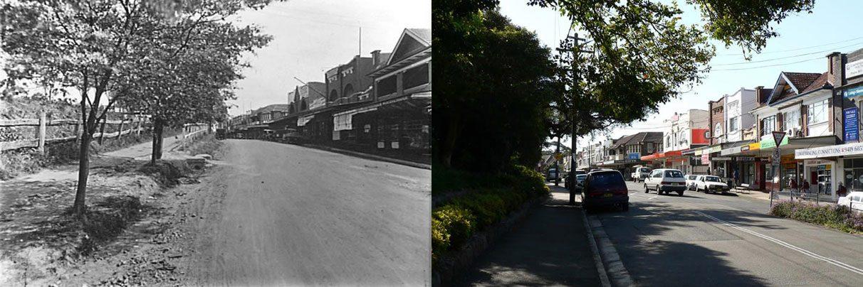 Hill St, Roseville, early 1900s & 2007