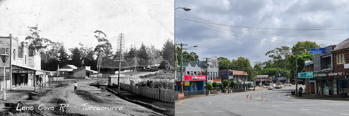 Pacific Hwy Turramurra, early 1900s & 2021